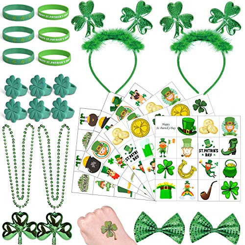 56PCs St. Patricks Day Accessories with Headband, Shamrock Necklace, Bow, Temporary Tattoos and Bracelets for St. Patricks Day Decorations, St. Patricks Day Party Favors