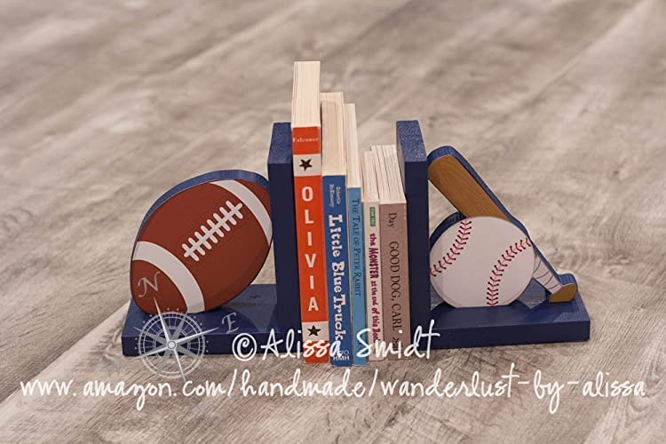 Baseball and Football Wooden Bookends, Sports Themed - Custom Designed