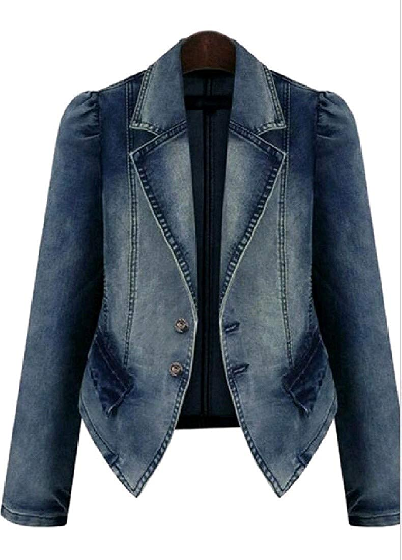 Winme Women's Wash Denim Oversize Irregular Hem Trench Coat Jacket