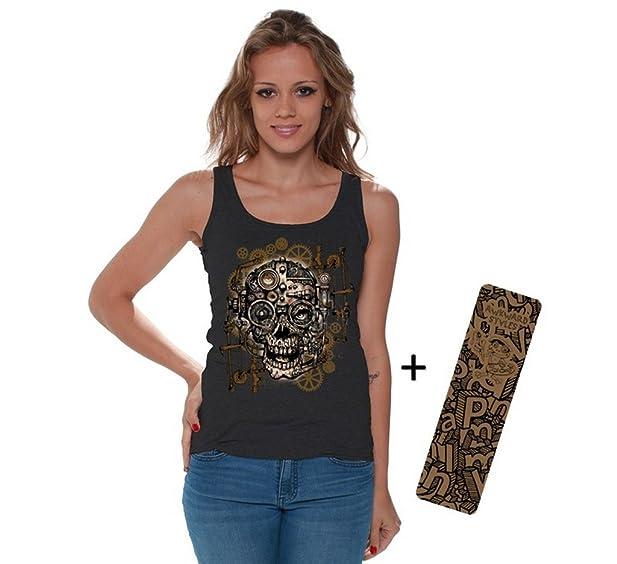 b0b03984 Awkwardstyles Women's Geared Skull Tank Top Sugar Skull Tank + Bookmark S  Black