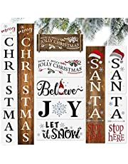 10PCS Christmas Stencils for Painting on Wood-Reusable Merry Christmas &Santa Stop Here Porch Sign Stencils-Believe/Let is Snow/Joy/Have a Holly Jolly Stencil- Large Christmas Stencils for DIY Crafts