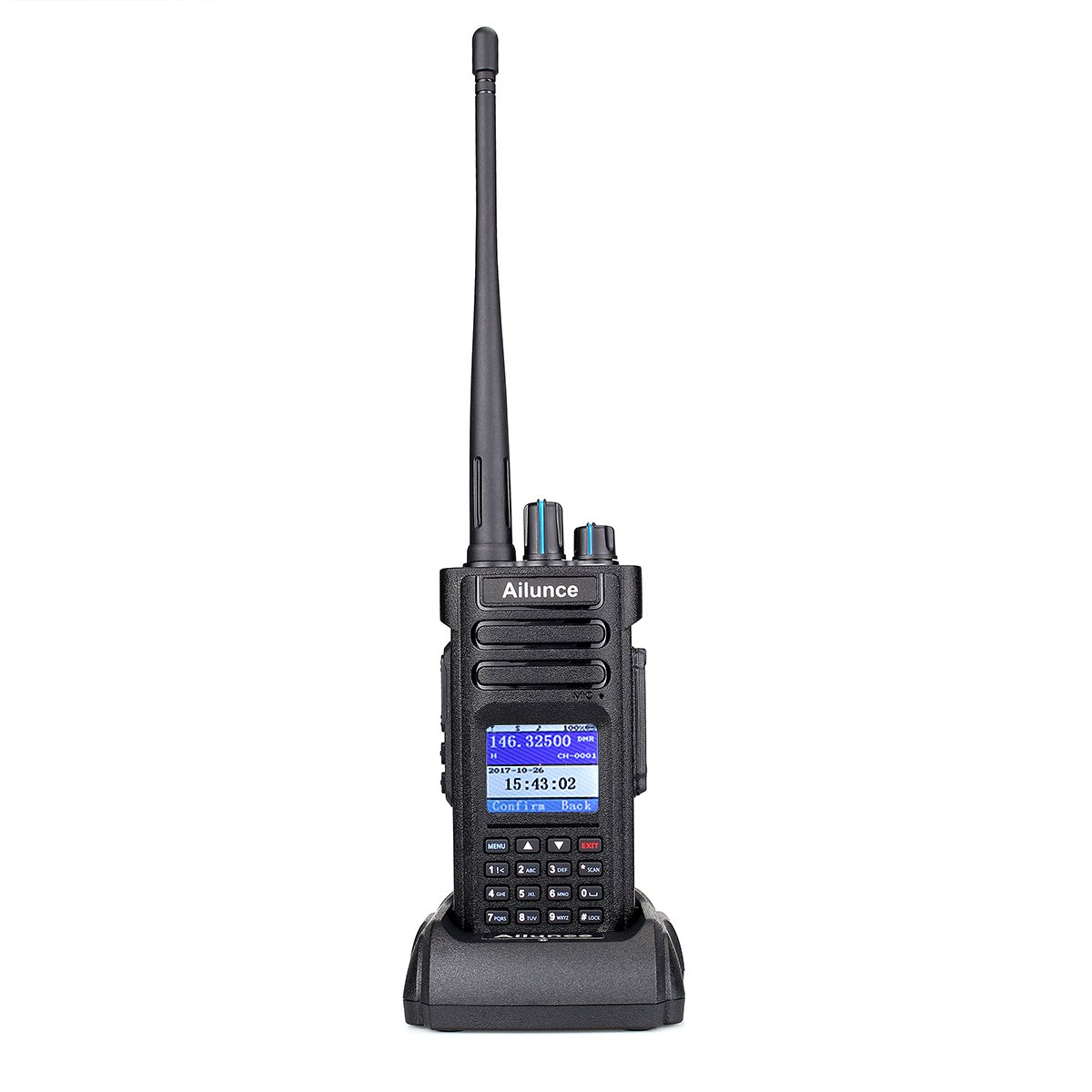 Ailunce HD1 DMR Digital Ham Radio Dual Band Dual Time Slot 10W 3000Channels 100000 Contacts 3200mAhz Waterproof long Range Two Way Radio with FM Function and Programming Cable(Black,1pack) by Ailunce (Image #1)