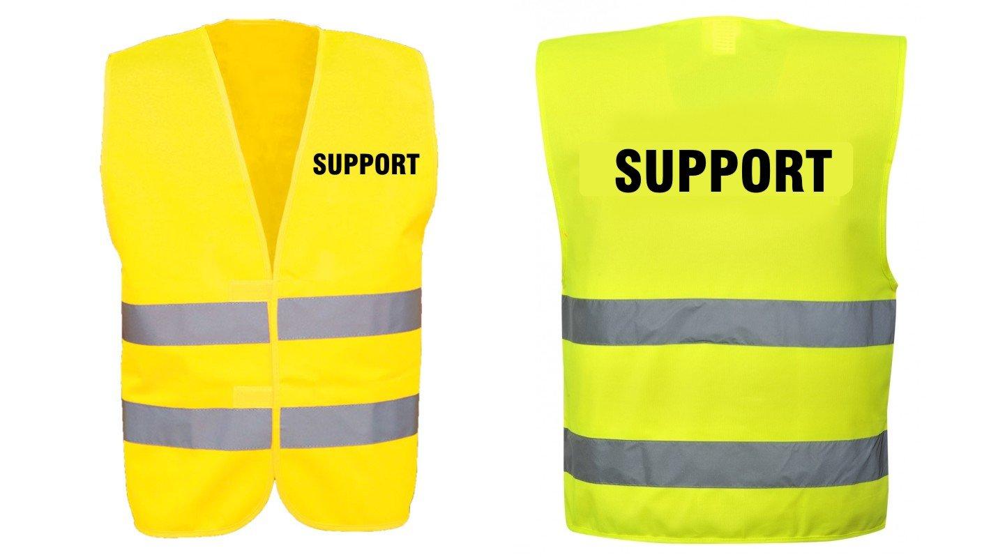Nashville print factory Warnweste gelb mit Text Bedruckt R/ückendruck Aufsicht Brustdruck Sicherheitsweste EN ISO 20471