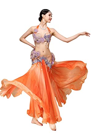 Amazon.com: GUILTY BEAUTY Luxury Floral Performance Dance Costume,Palace  Style,Bra Skirt 2pcs,Orange: Clothing