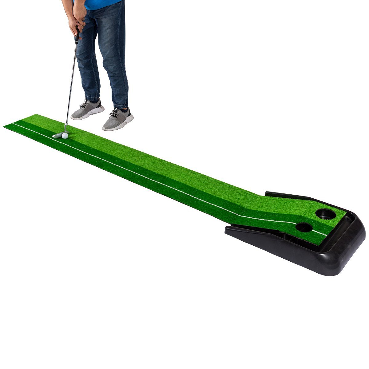 TANGKULA 8 FT Putting Mat Indoor Outdoor Golf Practice Training Mat Green Grass Turf Ball Return