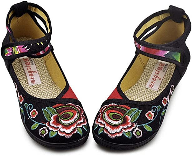 Chinese Embroidered Womens Ladies Mary Jane Shoes Ballerina Ballet Flats Loafers