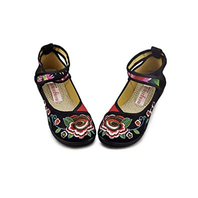 72410cd4f76b Vintage Chinese Embroidered Floral Shoes Women Ballerina Mary Jane Flat  Ballet Cotton Loafer Black 34
