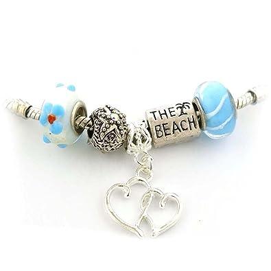 Amazon Com Set Of Five 5 Beach Theme Beads With Beach Palm Tree