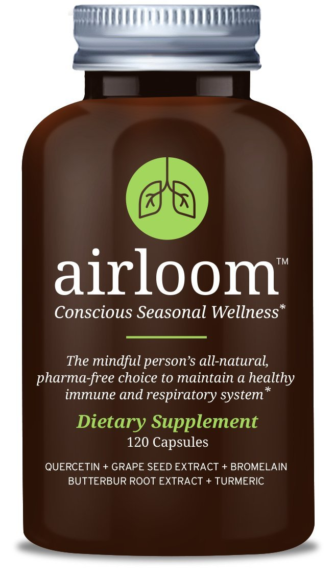 Airloom, Natural Seasonal Wellness Support for Healthy Histamine Levels with Organic Grape Seed Extract, Bromelain, Quercetin, Turmeric