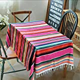 DeroTeno Turnon 150X215cm Mexican Blanket Stripe Tablecloths for Weddings Cotton Travel Serape Blanket Outdoor Table Cover Table Cloth