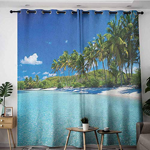- AGONIU Grommet Curtains,Ocean Relaxing Beach Resort Spa Palm Trees and Sea Exotic Caribbean Coastline,Curtains for Living Room,W84x96L Turquoise Blue Green