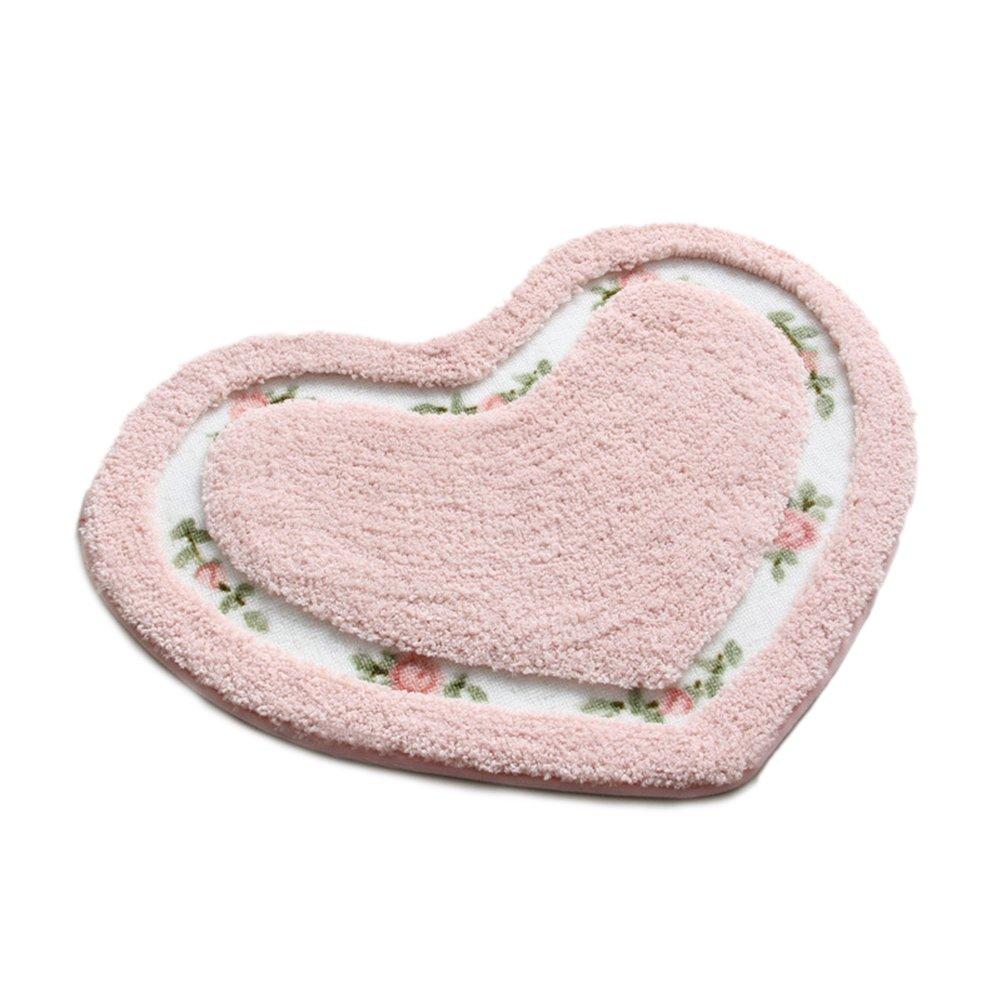 Kerocy Rug Soft Lovely Heart Shaped Pad Non-slid Door Mat Bathroom Home Floor Decoration Carpet (Pink)