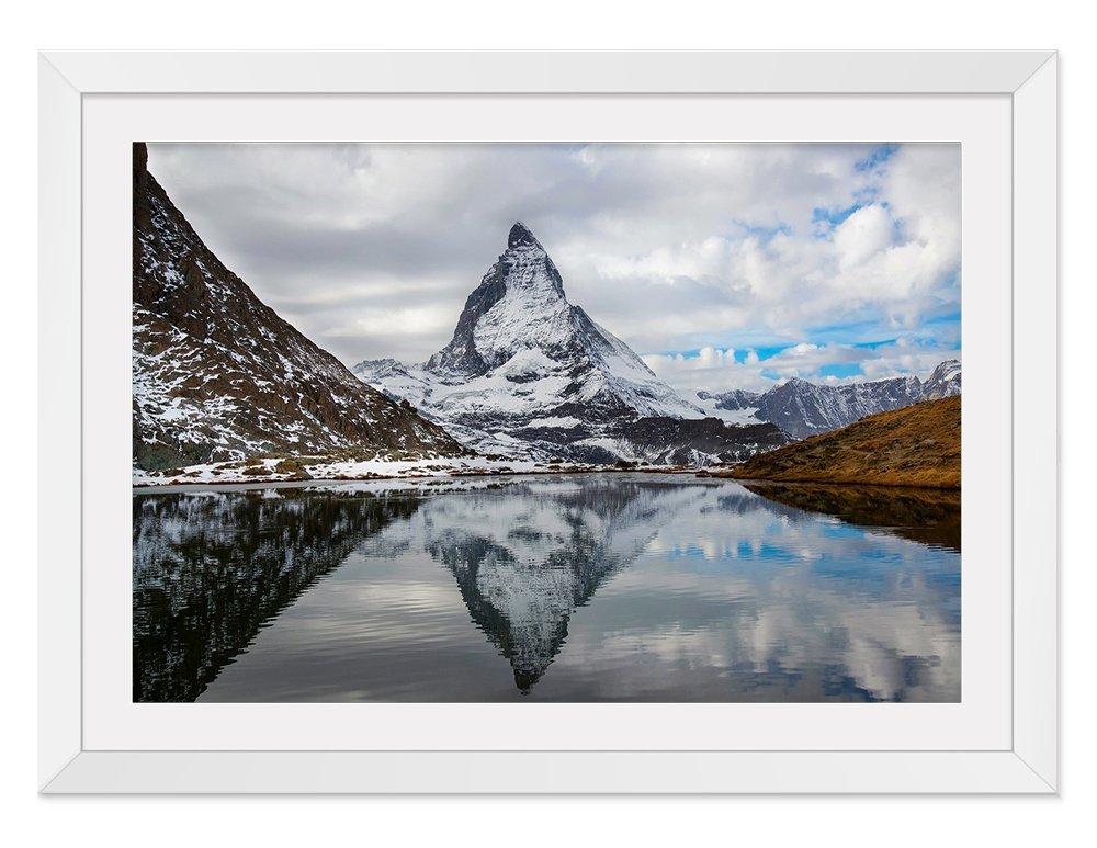 アルプスの風景 風景の写真 木製額縁 アートポスタ(40cmx60cm白色) B074XJC2R6