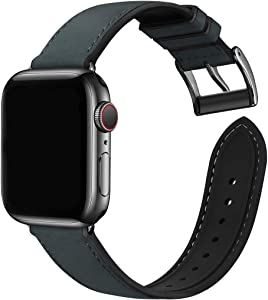 Bestig Compatible with Apple Watch Bands,Waterproof Genuine Leather and Silicone Hybrid Strap for iwach SE Series 6 5 4 3 2 1,Sports Edition (Black Band+Black Connector,42mm 44mm)[Upgraded]