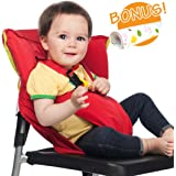 Baby HighChair Harness | Portable Travel Safety Belt Booster Feeding High Chair Seat Cover Sack Cushion Bag for Baby Kid Toddler | Secure with Adjustable Straps | Include Hand Wash Cloth | Red