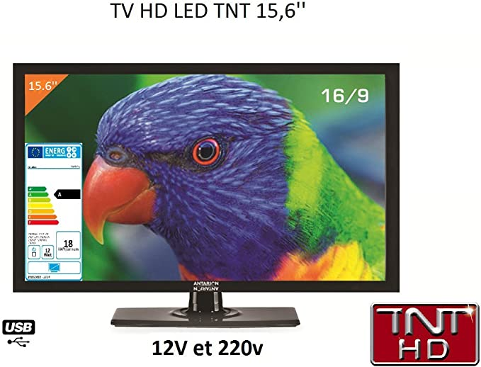 Antarion - Televisión HD LED de 39,6 cm para autocaravana, 220 V/12 V/24 V: Amazon.es: Electrónica