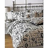 Riva Home Keys Duvet Sheet and Pillowcase Set (Queen) (Linen/Black)