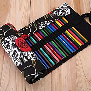 XYTMY - Estuche para lápices, bolígrafos, gomas, sacapuntas, rotuladores o agujas de ganchillo, tela, hecho a mano, enrollable, color 36 Holes, Skull ...