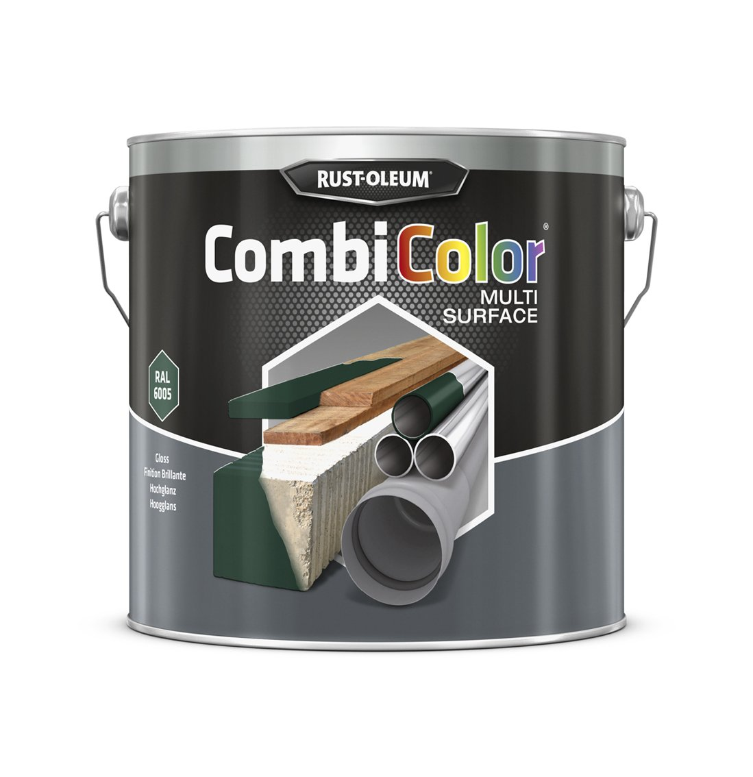 RUST-OLEUM 7337MS.2.5 Combicolor Multi-Surface, One Paint, Many Surfaces, Moss green-RAL 6005