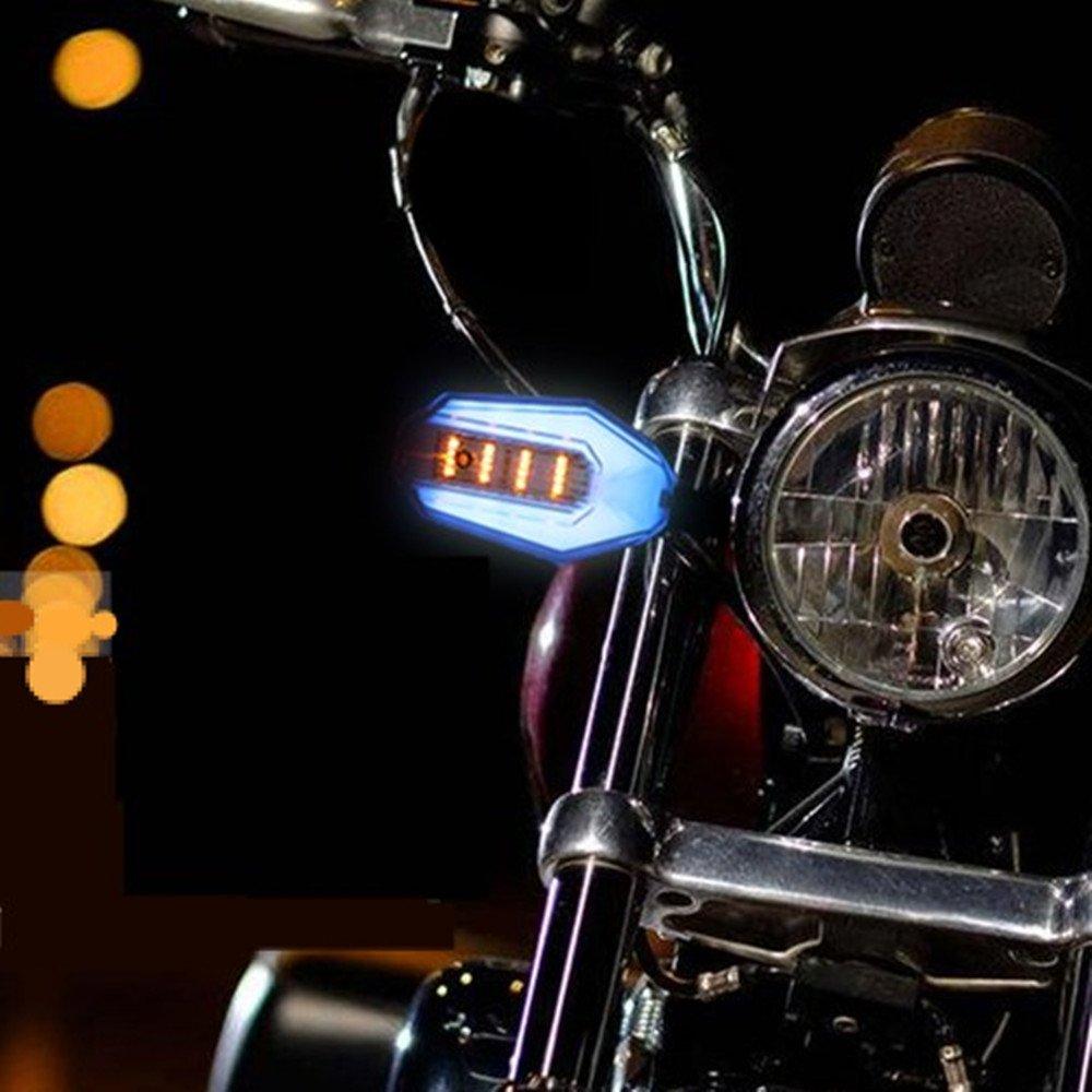 2x Motorcycle Turn Signal Indicators Light LED DRL Daytime Running Lamp DC 12V Waterproof Universal for Motorbike(red)