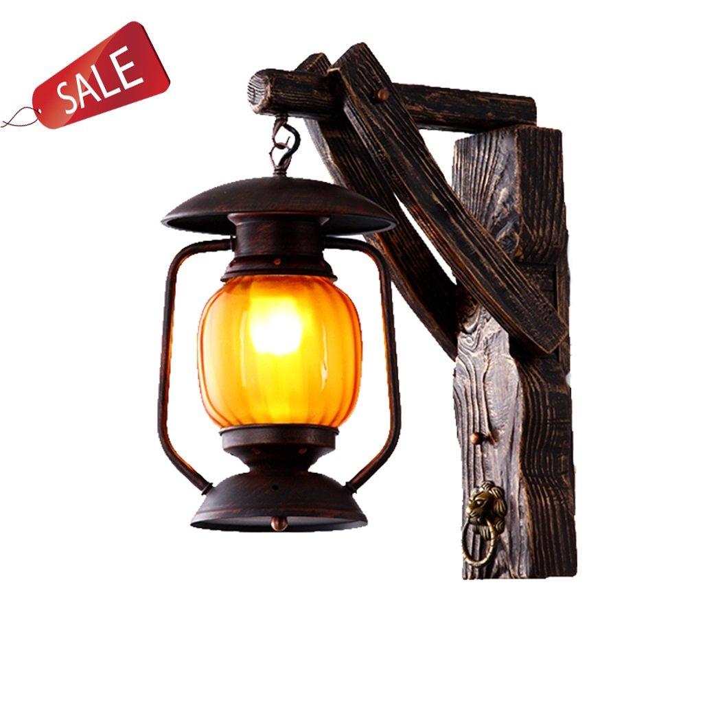 Wandlampe Ganglichter Massivholz Glas Nachttischlampe Augen schützen Erleuchtung Innenbeleuchtung Schlafzimmer Wohnzimmer Gang Bar Restaurant Retro Kreativ E27 A+