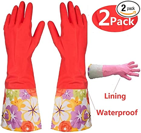 on sale cost charm outlet boutique Kitchen Rubber Cleaning Gloves with Warm Lining Household Thickening PU  Waterproof Dishwashing Latex Glove Large 2 Pairs