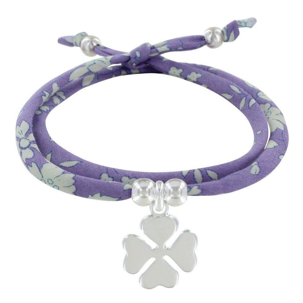Colors Bracelet Double Tour Lien Liberty et Tr/èfle Argent Les Poulettes Bijoux