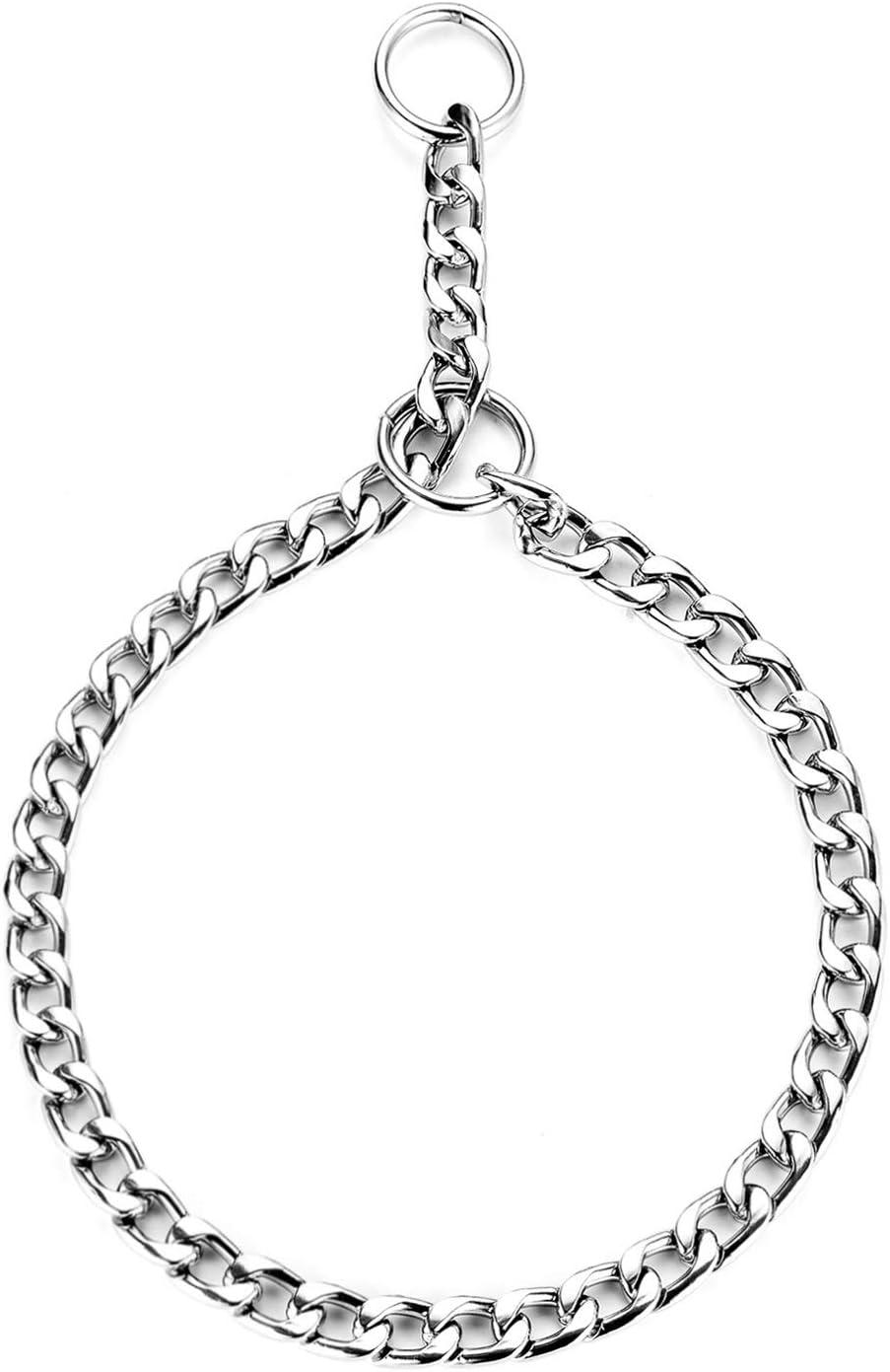 HAPPY HACHI Collar Consistent para Perros Collares de Acero Cadena Serpiente Metal para Adiestramiento(M 3.5mm*55cm)