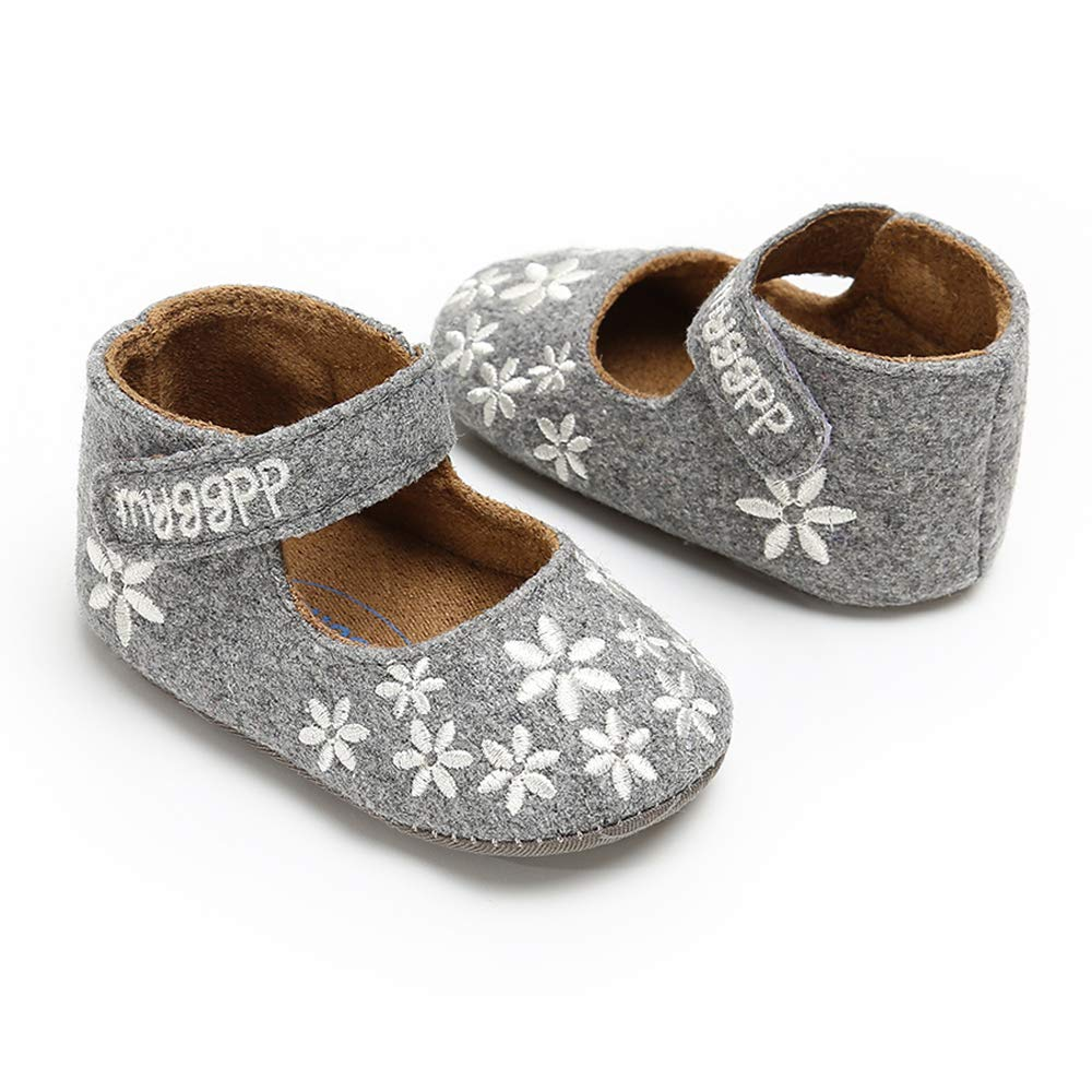 Baby Girls Ankle Strap Mary Jane Flats Soft Sole Floral Infant Crib Shoes Toddler First Walker Moccasins(Grey,12-18 Months)