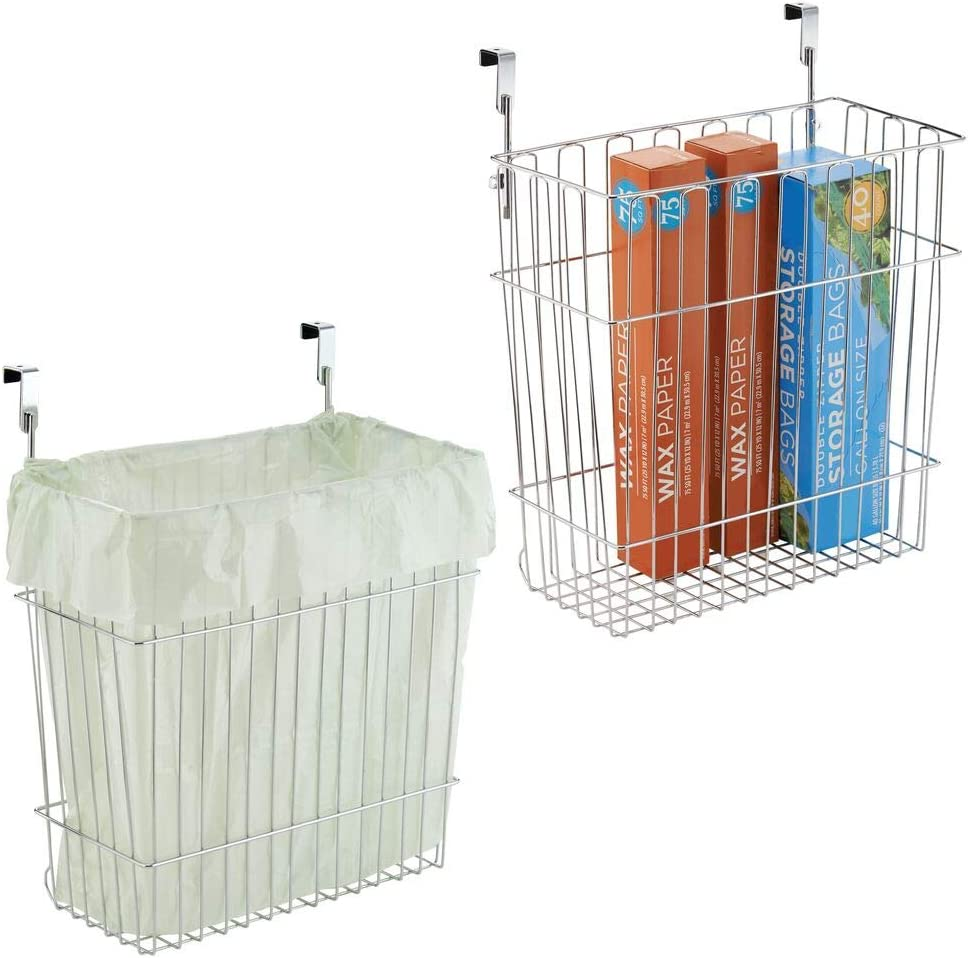 Amazon Com Mdesign Metal Wire Hanging Over Door Kitchen Storage Organizer Basket Trash Can Hangs Over Cabinet Doors For Bags Tin Foil Wax Paper Saran Wrap Solid Steel 2 Pack