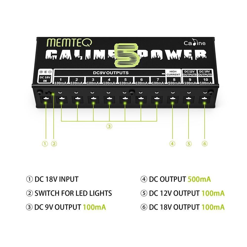 Guitar Pedal Power Supply Memteq 10 Isolated Dc Output For 9v 12v Led Light Circuit Diagram 18v Effect With Short Overcurrent Protection