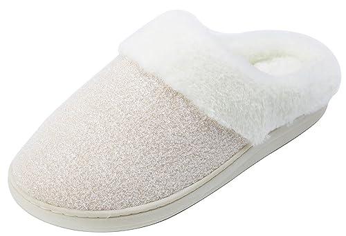 be8a92e175a0 Amenities DEPOTWomen s Comfort Slip On Memory Foam Indoor House Slippers  (M 6-6.5