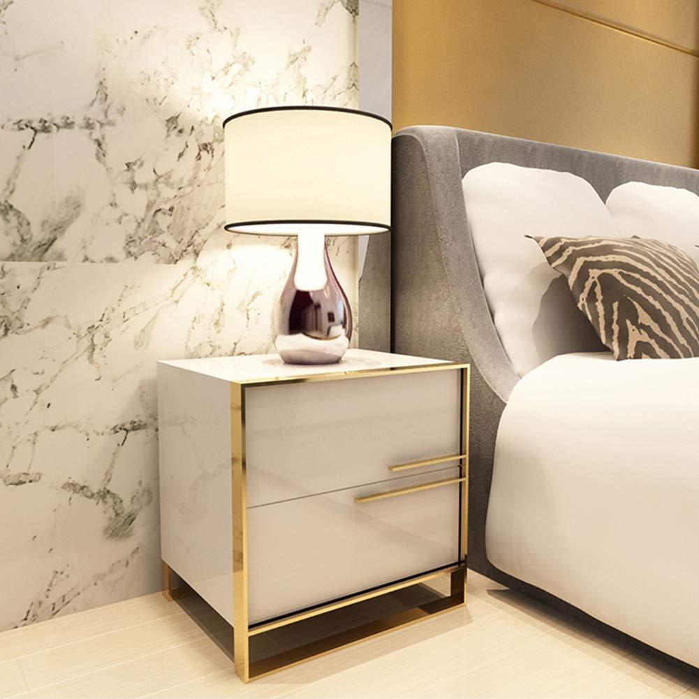 UNHO Mesita de Noche Mesa Auxiliar Dormitorio con 2 Cajones Mesilla Moderna Blanca de MDF con Laterales de Oro para Hogar Oficina de Tama/ño 50 x 40 x 50 CM Blanco