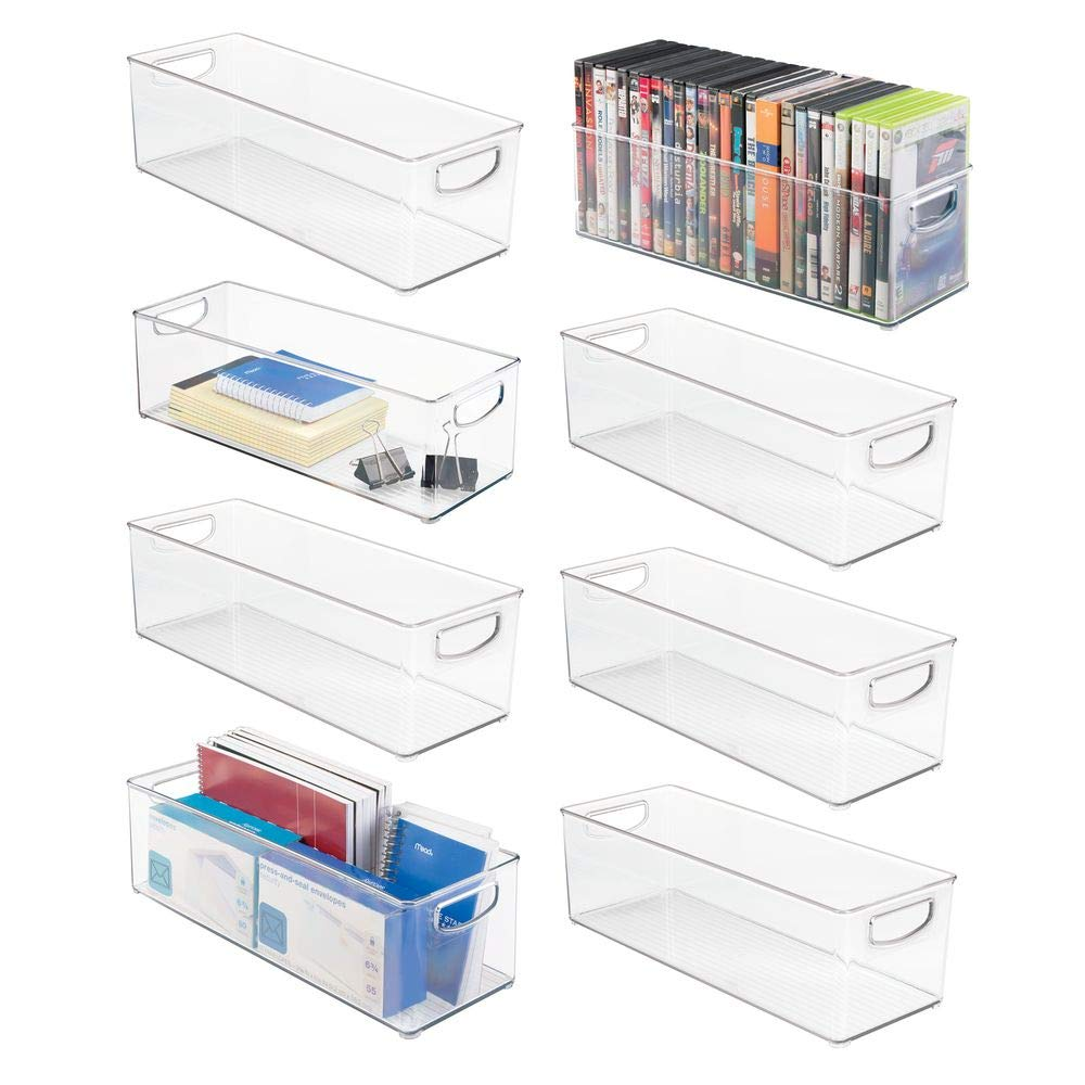 mDesign Large Stackable Plastic Storage Bin Container, Home Office Desk and Drawer Organizer Tote with Handles - Holds Gel Pens, Erasers, Tape, Pens, Pencils, Markers - 16'' Long, 8 Pack - Clear by mDesign