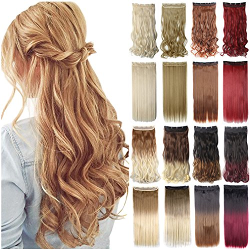 "FIRSTLIKE 30"" Straight Dark Black 3/4 Full Head One Piece 5clips Clip in Hair Extensions Long Poplar Style for Xmas Gifts 22colors Women Beauty"