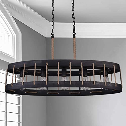 ANTILISHA Modern Farmhouse Chandelier Lighting Rectangle Oval Drum Rope Light Fixture Pendant Chandelier
