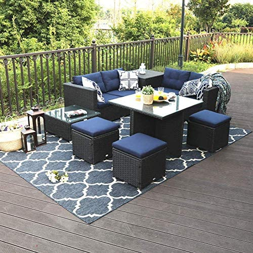 PHI VILLA Outdoor Patio Furniture Set- Outdoor Sofa 9-Piece, Sofa, Table and Stools