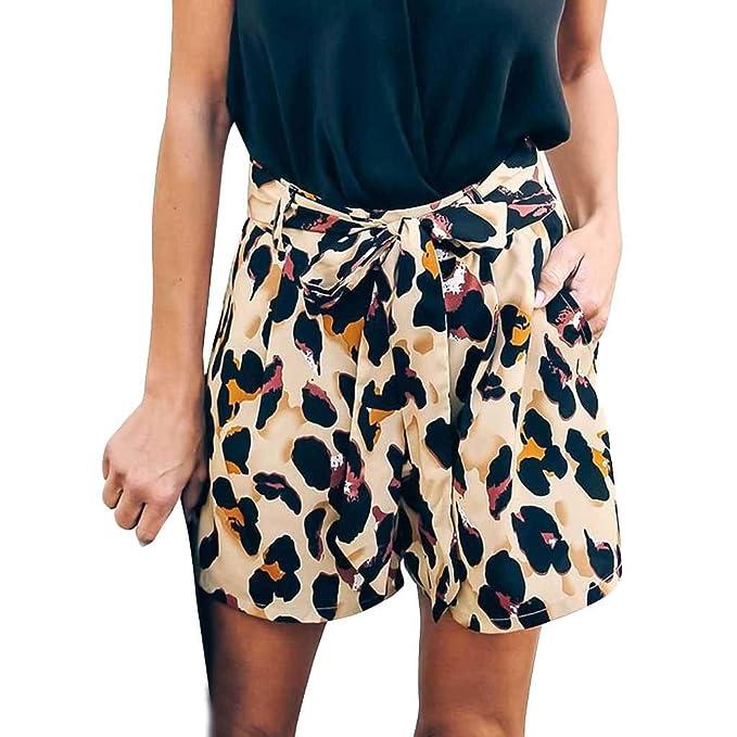 STRIR Mujer Pantalones de Leopardo Pantalones Cortos Bermuda ...