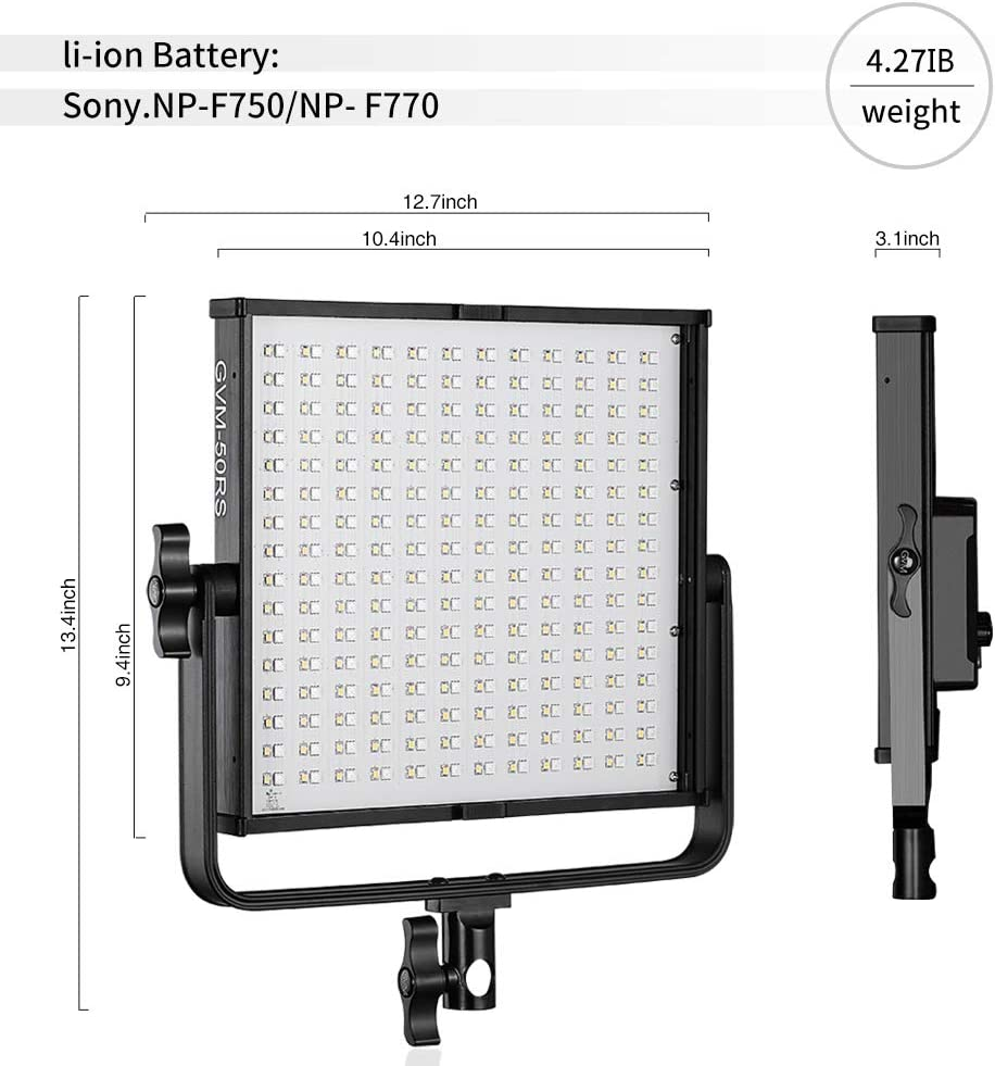 Barn-Door Carry case APP Control 3200K-5600K LED Continuous Video Light kit for Studio YouTube Photography Interview Portrait Photo Camera Lighting GVM 50RS RGB Video Light Full Color Output CRI97