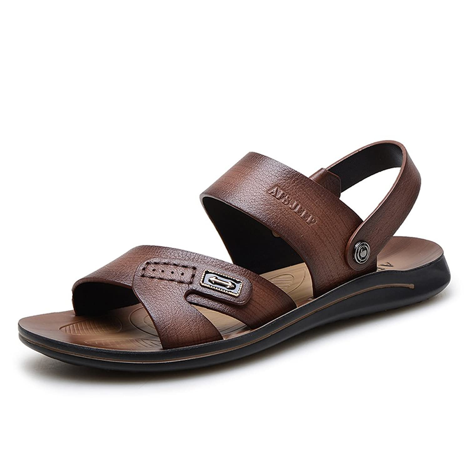 AFS JEEP Men's Beach Affair Strap Hollow Out Leather Dress Sandals
