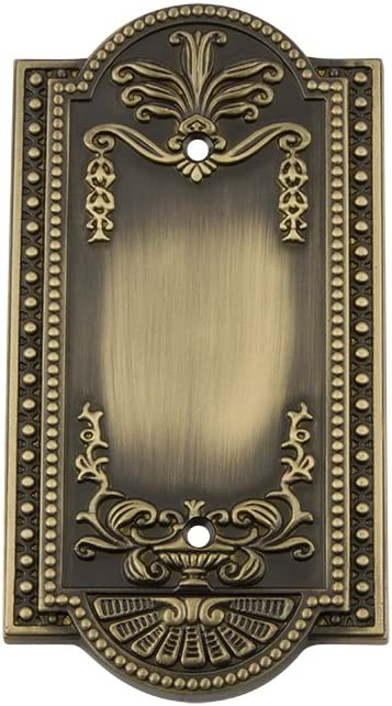 Nostalgic Warehouse 719721 Meadows Switch Plate with Blank Cover, Antique Brass