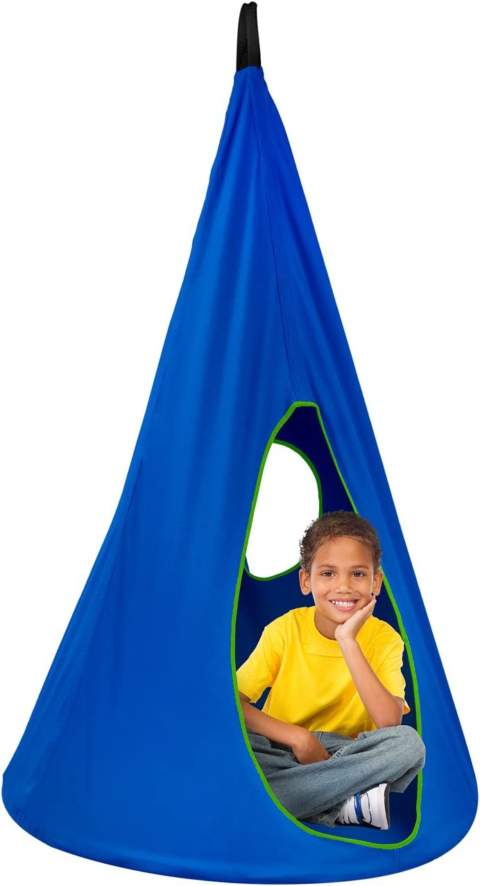 Sorbus Kids Nest Swing Chair Nook Hanging Seat Hammock for Indoor Outdoor Use Great for Children, 33 Inch, Nest Blue