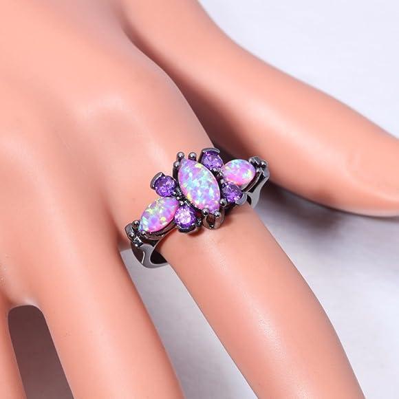 Cherryn Created Pink Opal Purple Zircon Black rose gold engagement ring fashion ring holder