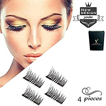 aa52546dd9c Amazon.com : Long Dual Magnetic False Eyelashes, 0.2mm Ultra Thin 3D  Reusable Fake Lashes, Full Size Natural Look 1 Pair 4 Pieces-206 : Beauty