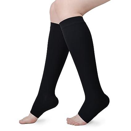 9d59807e47 Banglijian Compression Socks for Men Women 20-30 mmHg Knee High Open Toe,  Medical