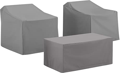 Crosley Furniture MO75005-GY Heavy-Gauge Reinforced Vinyl 3-Piece Furniture Cover Set 2 Chair