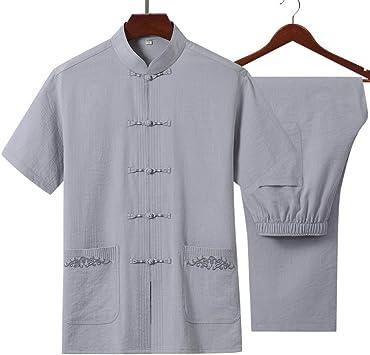 AGWa Traje chino de algodón y lino Tang Camisa de manga corta para hombre Traje de camisa Traje de Tai Chi con bolsillo de bordado Adecuado para primavera y verano,Gris,S: Amazon.es: Bricolaje
