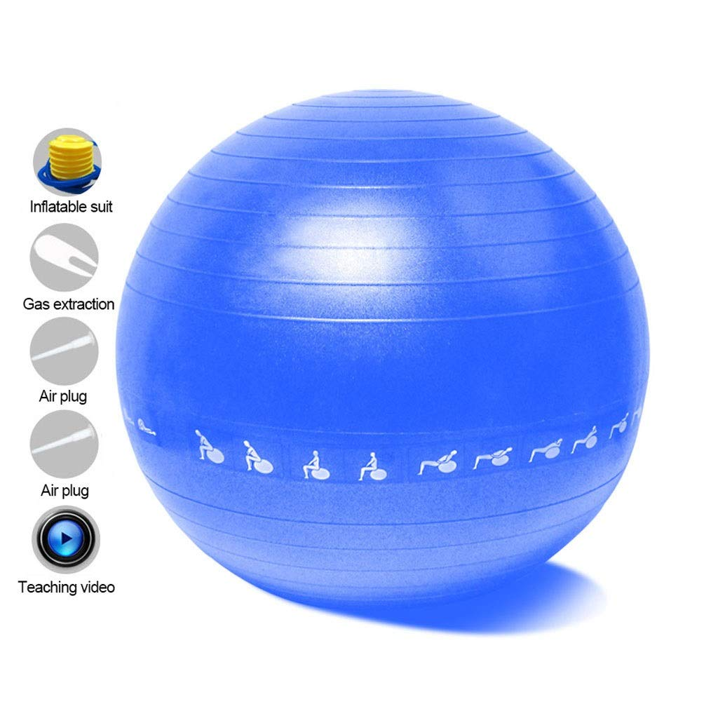 Exercise Yoga Ball, Anti-Burst Exercise Swiss Ball with Pump for Yoga Pilates Fitness Physical Therapy Birthing Pregnancy Gym and Home (Color : Blue, Size : 55cm)