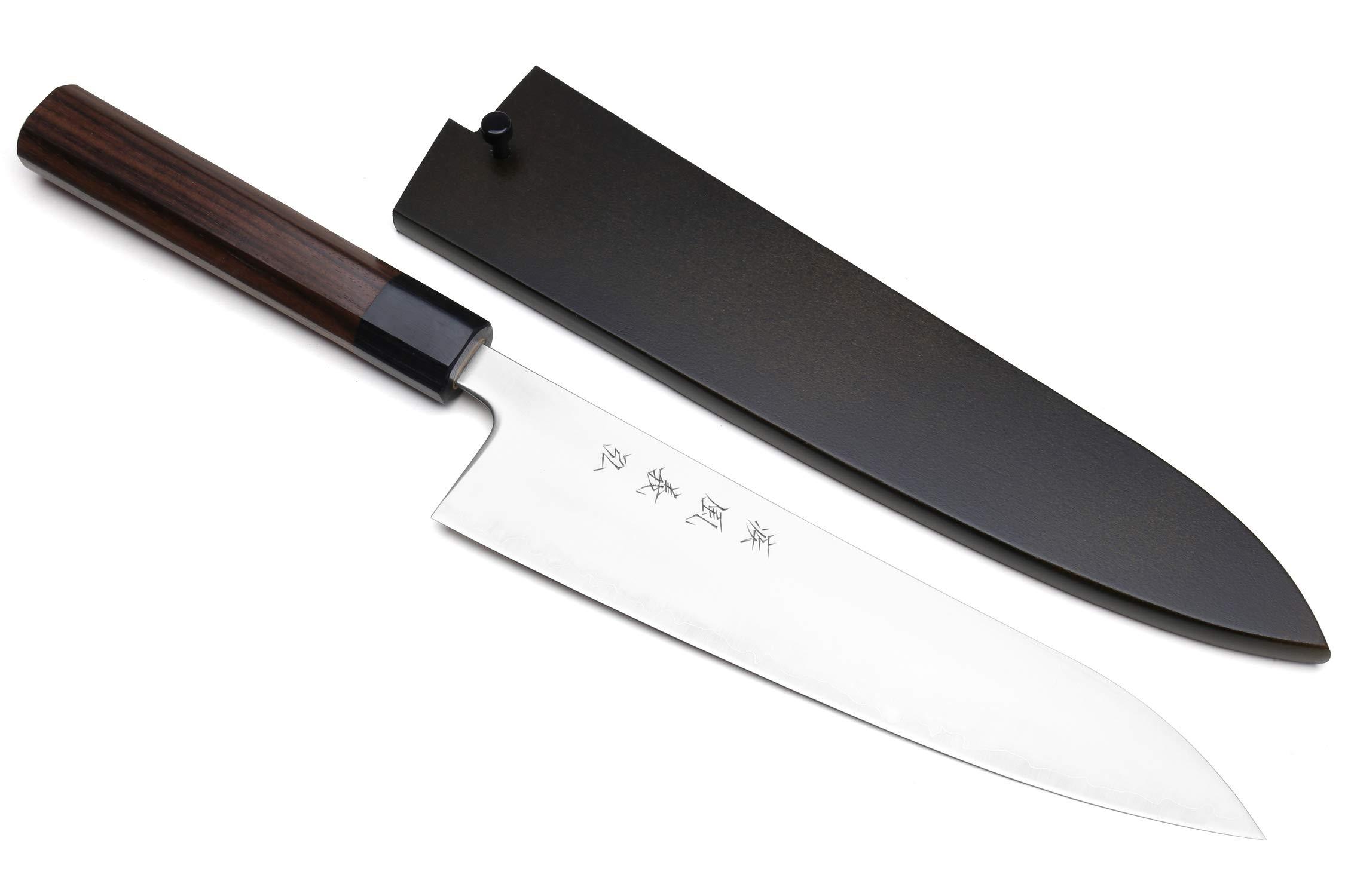 Yoshihiro Super Blue Steel Clad Gyuto Chefs Knife Rosewood Handle (8.25''/210mm) by Yoshihiro