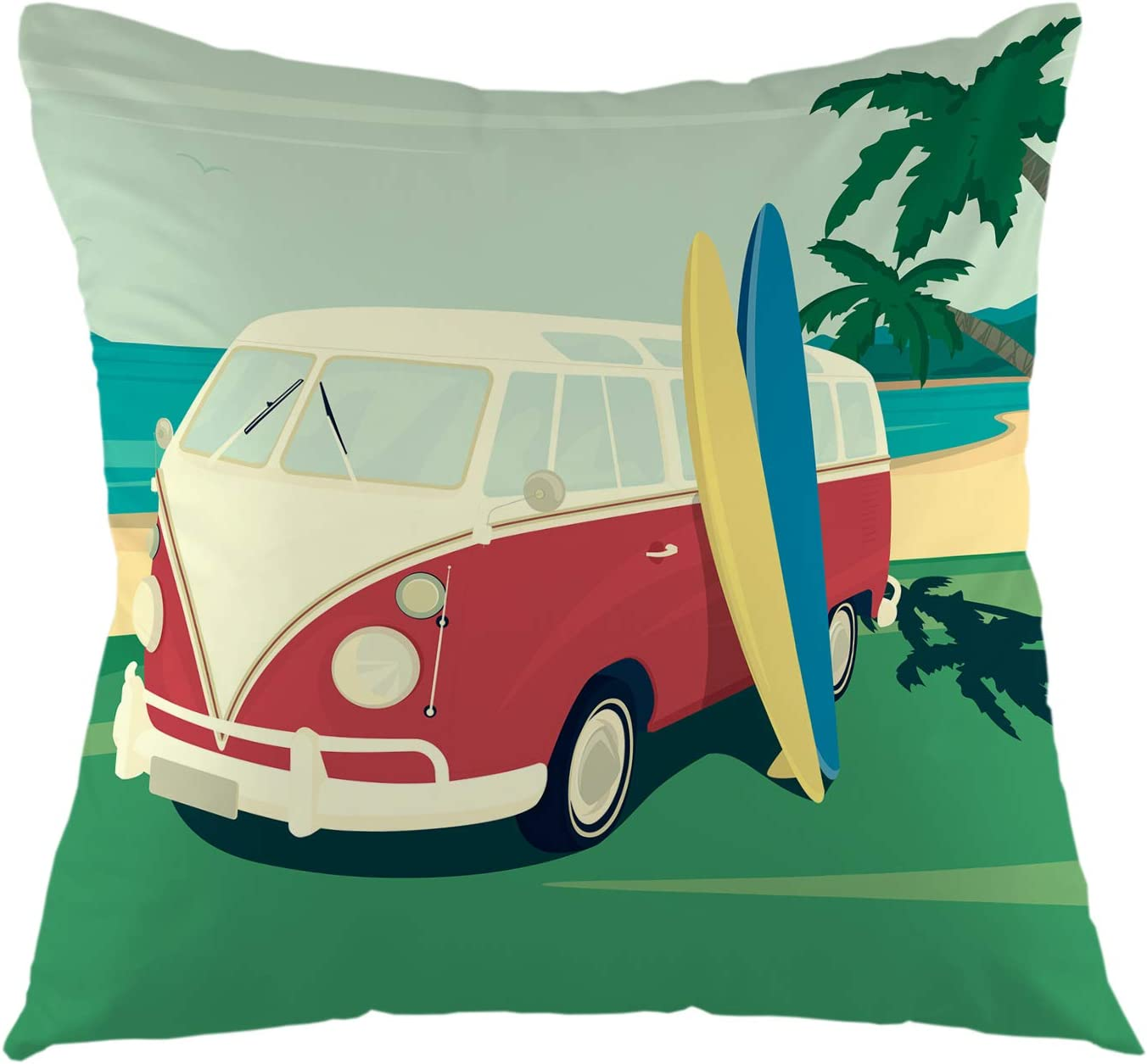 Amazon Com Ofloral Pillow Cover Red Bus With Two Surfboards Palm Tree On The Tropical Beach Ocean Retro Throw Pillow Case Square Cushion Cover For Sofa Couch Car Bed 18 X 18 Inch